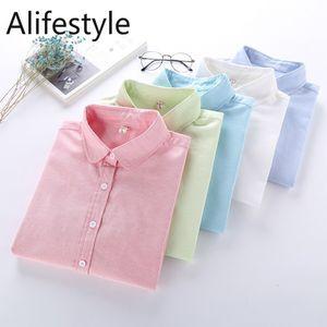Women Blouse 2020 New Oxford Shirt Women'S Long Sleeve Buttoned Shirt Office Wear Shirts High Quality Ladies Tops F1211
