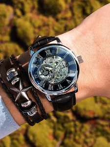 Automatic mechanical watch men watch waterproof hollow out double tourbillon 2020 student movement male form the new trend
