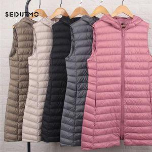 SEDUTMO Winter Plus Size 3XL Womens Down Coat Long Hooded Vest Ultra Light Waistcoat Autumn Slim Jacket Parkas ED915 201124