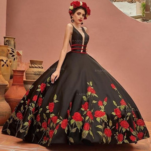 Black Ball Gown Quinceanera Dresses 2020 V Neck Embroidery Sweep Train Sweet 16 Dress vestidos de 15 años