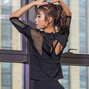 2019 New Sexy Sports Tops Gym Women Fitness T Shirt Woman Black White 3 4 Sleeve Yoga Top Mesh Womens Gym Tops Sport Wear Women C0119