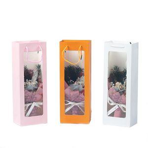 Saco de Janela Transparente Saco De Papel Kraft Champanja Presente De Flor De Presente Sólido Saco Festival Packing Pack