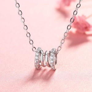 Stainless steel necklace female light luxury new creative pattern spring, hollow pendant with luxurious diamonds on both sides, fashionable