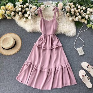 Fmfssom verano primavera playa playa doble rondas espagueti correa multi colores midi mujeres mujer vestido femenino1