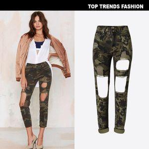 Namorado Vento Mulheres Cintura Alta Calça De Calor Loxo Camuflagem Calças de Jeans Afligido Buraco Broken Nine Point Pants Plus Size 2711