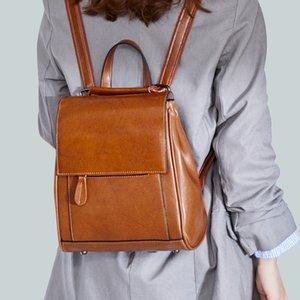 Sundo Female Shoulder Bag Genuine Leather Ladies School Bags Retro Knapsack Vintage Cowhide Backpack For Women Q1113