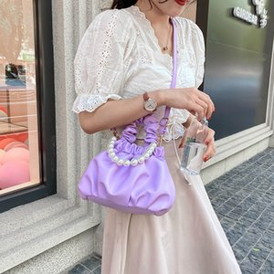 Popular women's bag cloud pleated women's bag small fresh Shoulder Messenger Bag pearl handbag