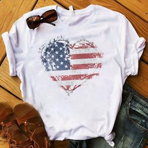 Mulheres Camisa Americana Cópia Cópia Plus Tamanho Mulheres Listrado Gramado EUA Bandeira Love Top Manga Curta Tshirt Mulheres Femininas T Camiseta