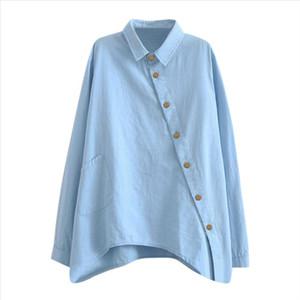Shirt Harajuku Wear Button Up Turn Down Collar Solid Color Shirt Spring Long Sleeve Casual Loose T Shirts Vintage Feminina Ropa