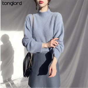 Tonglord Mulheres Meia Turtleneck Pullovers 2020 preguiçoso Solta Mohair Sweater Female Bottoming Camisas Tops