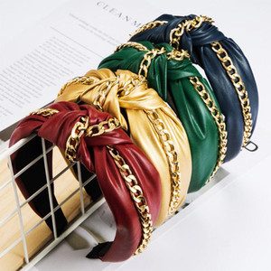 Fashion Women Soft Leather Hair Hoop Alloy Chain Wide Side Knotted Hairband Female Headwear Decorations Accessories Gift