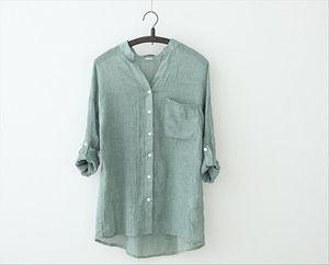 Spring Summer Women Fashion Three Quarter Sleeve Stand Collar Casual Loose Fashion Cotton Linen Blouse Shirt Summer Tops