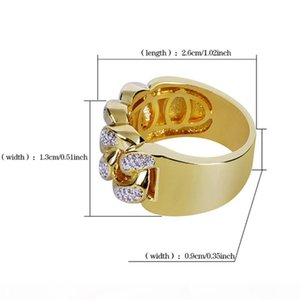 K Mens 18k Gold 13mm Cuba Cz Bling Bling Ring Micro Pave Cubic Zirconia Simulated Diamonds Hip Hop Rings Size #7 -Size #11