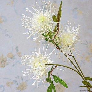 3Heads / Düğün dekorasyon için şube Leucospermum Yapay Çiçekler artificiales plastik sahte çiçekler Fleur ARTIFICIELLE flores