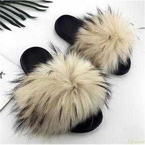 Real Raccoon Peles Chinelos Mulheres Sliders Casual Fox Hair Flat Floffy Moda Casa Verão Grande Tamanho 45 Feriscar Flip Sapatos Y200423
