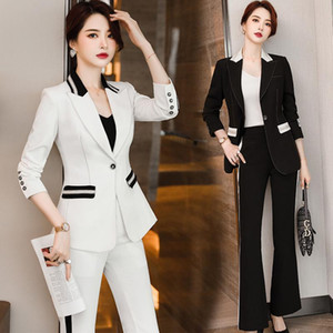 Plus Size Women's High-quality Professional Wear Temperament Fashion Ladies Pants Suits Long Sleeve Ladies Jacket Slim Trousers
