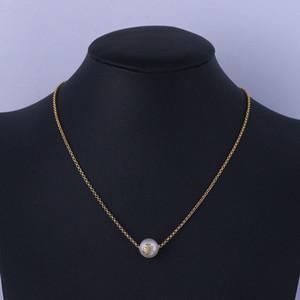الذهب الحقيقي مطلي اللؤلؤ قلادة قلادة الأزياء إلكتروني الساخن بيع العلامة التجارية قلادة