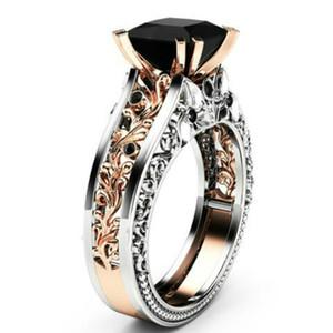 Princesse Noir / Bague en zircon blanc Rose Gold Rempli Bijoux de mariée taille 5-12