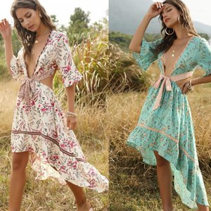 Casual Dresses Bohemian Summer Dress Women Boho Deep V-Neck Sexy Asymmertrical Print Holiday Beach Vestidos Robe Party Club Drop1
