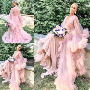 Pink Ruffles Edge Bridal Sleepwear Nightgowns Long Sleeves Bathrobe Shawl Floor Length Pajamas See Through Party Wear Undergarment