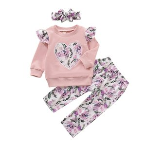 Baby Girl Clothing Toddler Kids Floral Sweatshirt Pullover Tops Pants Headband 3pcs Outfits for 6M-4y Children 2021 F1210