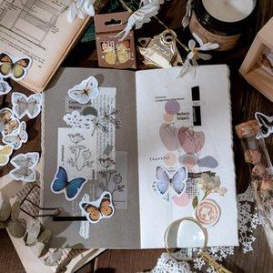 46 Pcs Caixa dos desenhos animados Kawaii Sealing presente da colagem da borboleta adesivos decorativos Scrapbooking Back To School personalizado Planner adesivo wmtuaX