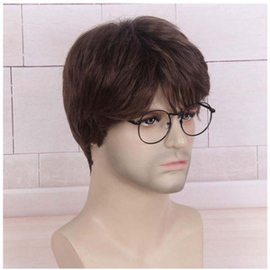 Man hair synthetic hair short hair Natural brown Short Wigs Heat Resistant Fashion Wig for man