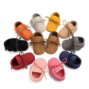 Newborn Infant Tassel Shoes Boys Girls Soft Fashionable Footwear With Fringe Toddler Solid Color Baby Crib Shoes PU Moccasins