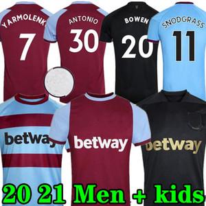 20 21 West Ham United Home Soccer Jerseys 2020 2021 Black Third Away Lanzini Antonio F.Arterson 125. Jubiläumsfußball Hemden Männer Kinder