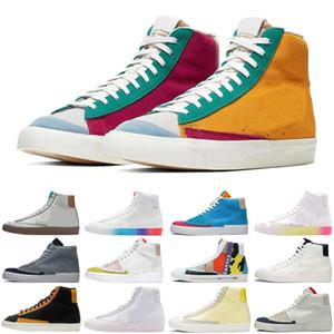 Nike Blazer SB Mid 77 Vintage Edge мужская женская обувь Multi Flyleather Orange Aqua уличные мужские женские кроссовки спортивные кроссовки
