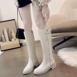 Kniehohe Stiefel Absatz-Frauen-Schuhe 2020 Knight Boots-Winter-Schenkel-hohe Knie-Frauen-Schwarz-Beige Botas Altas Mujer