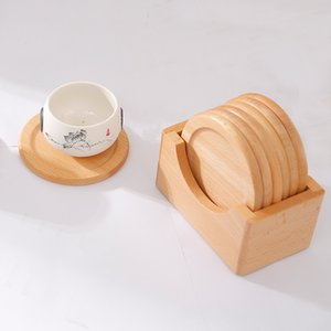 6pcs Cup Mats with Beech Wood Box Holder Set Wooden Heat Insulation Coaster for Kitchen Table