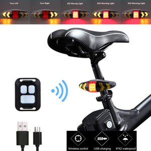 Waterproof USB Rechargeable Bike Rear Lamp Smart Remote Control Bicycle Turning Signal Light Wireless LED Warning Taillight 201126
