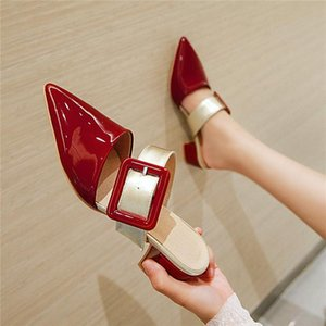 YMECHIC Summer 2020 Fashion Buckle Strap Chunky Heels Mules Party Shoes Woman Red Black Snakeskin Pointed Toe Slippers Pumps