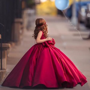 Toddler Girl's Pageant Dresses with Bow O-Neck Birthday Party Gonws Ruched Satin Puffy Flower Girls' Dress Princess Vestidos