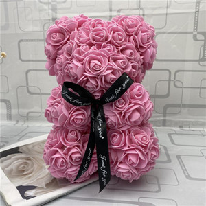 Rose Teddy Bear New Valentines Day Regalo 25 cm Oso de flores Decoración artificial Regalo de Navidad para mujeres Valentines Regalo de mar Way BWF3817