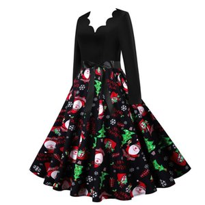 Woman Winter Dress Christmas Dresses Women Vintage Robe Swing Elegant Party Dress Long Sleeve Casual Plus Size Print