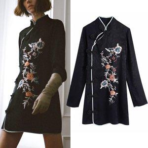 Pseewe jacquard bordado vestido preto mulheres 2020 za manga comprida elegante mini vestidos mulher estilo chinês vestido vintage floral z1202