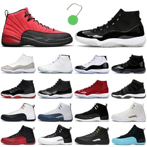 남성 농구화 jumpman 11 Jubilee 25th Anniversary Bred Concord 11s Reverse Flu Game 12s The Master 12 남성 여성 야외 운동화