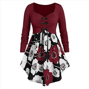 Fashion Bow Printed Tunic Blouse Plus Size Casual Winter Ladies Loose Bottom Tops Female Women Long Sleeve Shirt Blusas Pullover