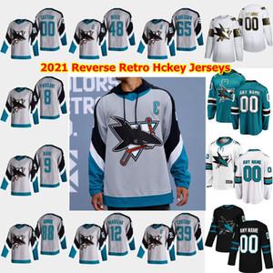 San Jose Sharks 2021 Ters Retro Hokey Jersey 88 Brent Burns Jersey Logan Couture Joe Thornton Erik Karlsson Evander Kane Özel Dikişli
