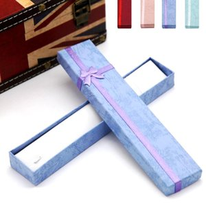 1pc Card board Flannelette long necklace box jewelry wedding gifts box 4 Color Jewelry Necklace Bracelet Present Bowknot Gift