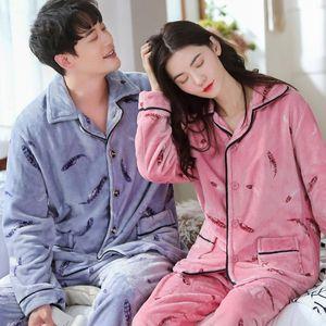 Couple Flannel 2PCS Loose Pajamas Suit Winter Thicken Warm Home Wear Feather Print Shirt&Pant Sleepwear M-3XL Big Size Nightwear