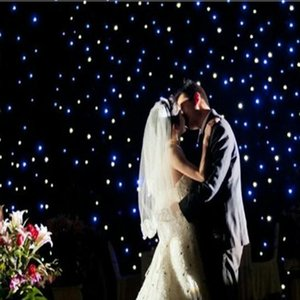 New Arrival 3X3 Meters Blue-White Color LED Star Curtain Wedding Stage Backdrop Cloth For Wedding Party Dance Decoration