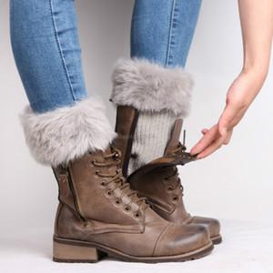 Mujeres de piel de pelaje calentadores de piernas moda otoño invierno medias de arranque calcetines para mujeres negro blanco voluntad y nave de gota arenosa