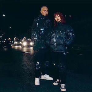 Grande tamanho de algodão acolchoado jaqueta Europeu e americano marca de moda inverno para baixo jaqueta f morno e espessado homens e mulheres solta berço