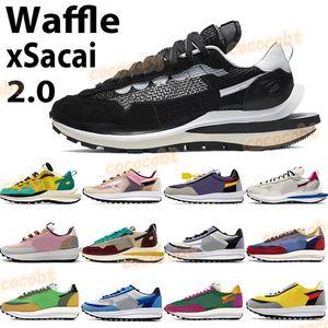 Fahion galleta 2.0 xSacai zapatos de vela negro turísticos cadena de los hombres de las mujeres zapatillas de deporte de color amarillo verde Morado múltiples cumbre para hombre zapatillas blancas corriendo
