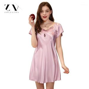 Sexy Nightgowns Sleepshirts Frauen Dessous Seide Sleepwear Sexy Dessous Nachthemd Für Frauen SCOOK Halsausschnitt Sleepshirts Weiblich1
