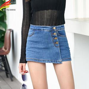 Pantaloncini in denim in vita alta per le donne 2020 Summer Skorts Gonne Slim Blue Jeans Brevi Jeans Vintage Skurt Skurt Skort Alta qualità