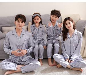 Filles garçons Soie Pyjamas Famille Association Pyjamas met la mère et la fille Vêtements Pijamas Dad Son Mommy et moi assortis Tenues A5258